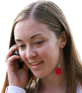 girl talking on the phone receiving good news
